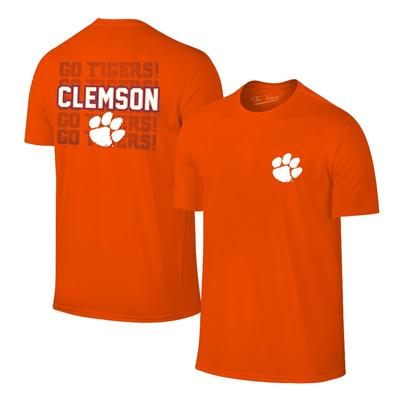 Clemson Wordmark and Paw Short Sleeve Tee