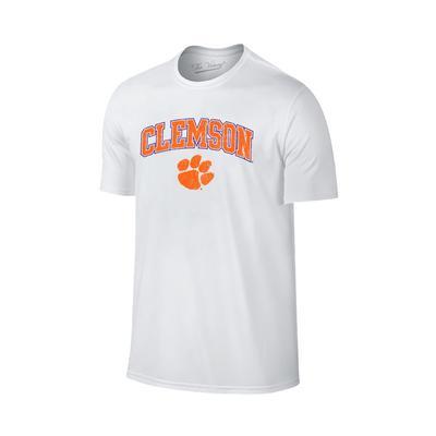 Clemson Distressed Arch Logo Tee WHITE