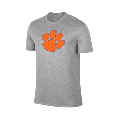 Clemson Distressed Paw Logo Tee GREY
