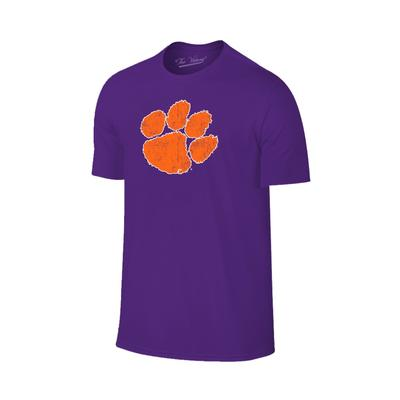 Clemson Distressed Paw Logo Tee PURPLE