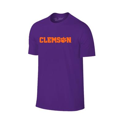 Clemson Wordmark Paw Fill Tee PURPLE