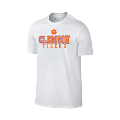 Clemson Stack with Paw Logo Tee WHT