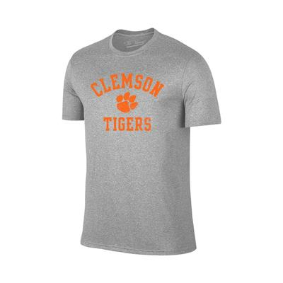 Clemson Tigers Distressed Arch with Paw Logo Tee GREY