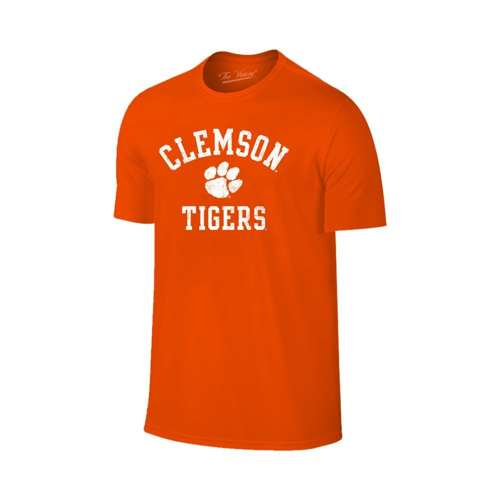 Clemson Tigers Distressed Arch With Paw Logo Tee