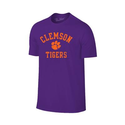 Clemson Tigers Distressed Arch with Paw Logo Tee PURPLE