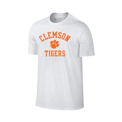 Clemson Tigers Distressed Arch with Paw Logo Tee WHT