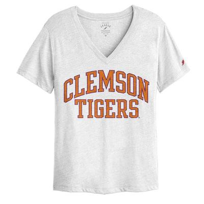 Clemson League Women's Intramural Boyfriend V-Neck Tee VAR_WHITE