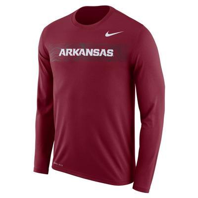 Arkansas Nike Dri-Fit Legend Long Sleeve Sideline Tee