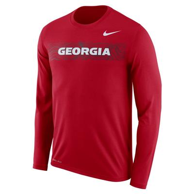 Georgia Nike Dri-Fit Legend Long Sleeve Sideline Tee
