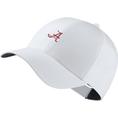 Alabama Nike Golf Dri-Fit Retro Script A Logo Tech Cap WHT
