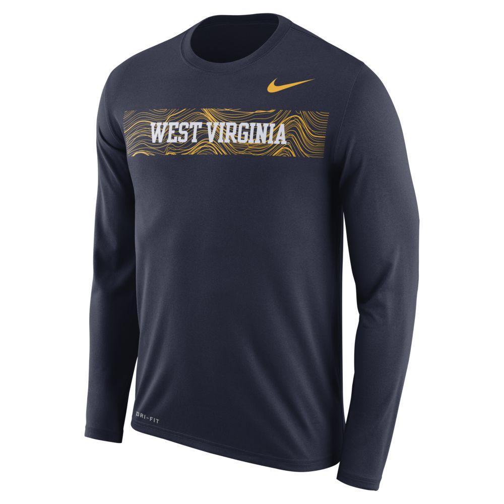 West Virginia Nike Dri- Fit Legend Long Sleeve Sideline Tee