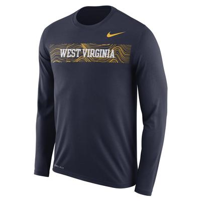 West Virginia Nike Dri-Fit Legend Long Sleeve Sideline Tee