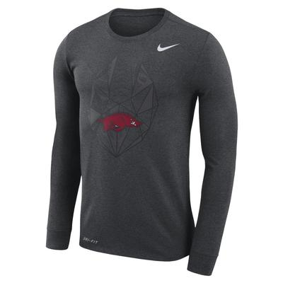 Arkansas Nike Dri-FIT Cotton Long Sleeve Football Icon Tee