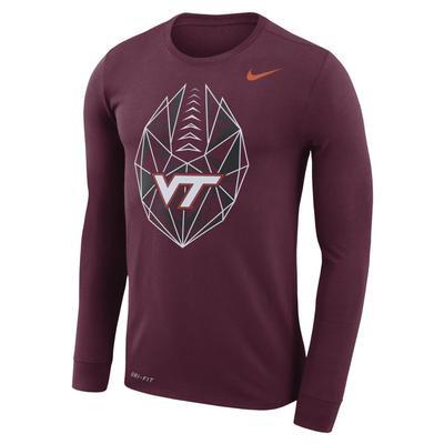 Virginia Tech Nike Dri-FIT Cotton Long Sleeve Football Icon Tee