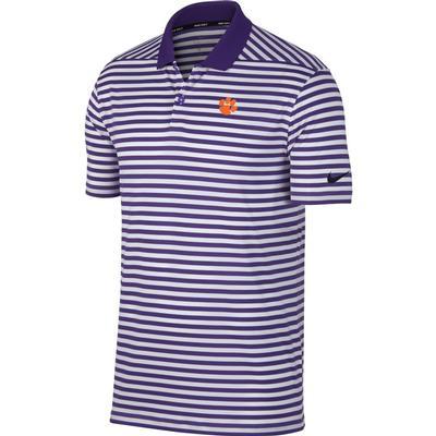 Clemson Nike Golf Dry Victory Stripe Polo PUR