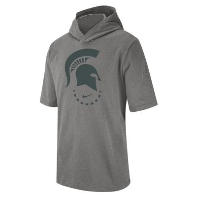 Michigan State Nike Short Sleeve NRG Basketball Hoodie Tee DK_GREY_HTHR