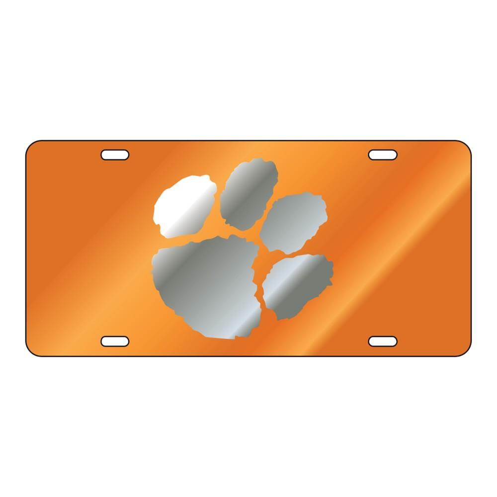 Clemson Mirror Paw Orange License Plate