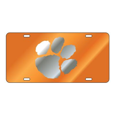 Clemson Mirror Paw Orange License Plate