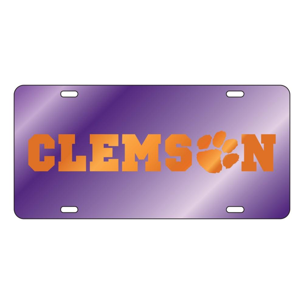 Clemson Wordmark With Paw Purple License Plate