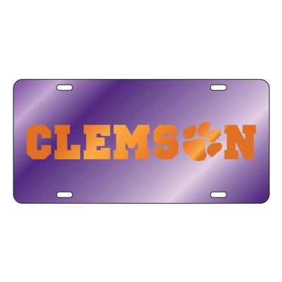 Clemson Wordmark with Paw Purple License Plate