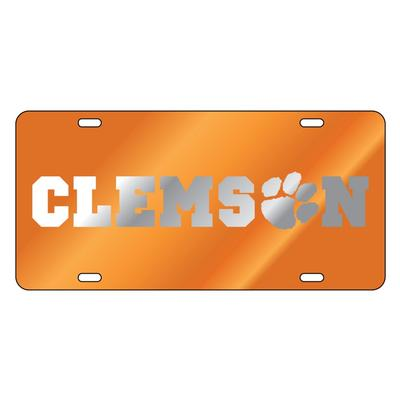 Clemson Wordmark with Paw Mirror License Plate