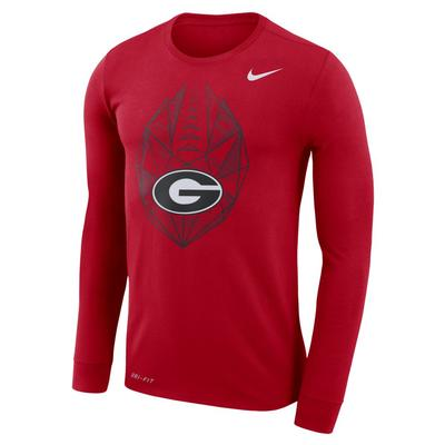 Georgia Nike Dri-FIT Cotton Long Sleeve Football Icon Tee