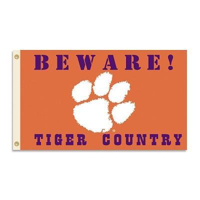 Clemson Beware Paw Logo House Flag