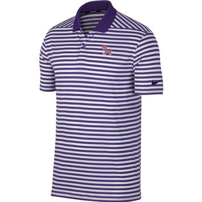 Clemson Nike Golf Dry Standing Tiger Victory Stripe Polo PUR