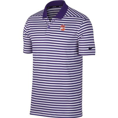 Clemson Nike Golf Vault Logo Dry Victory Stripe Polo PUR