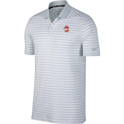 Clemson Nike Golf Vault Logo Dry Victory Stripe Polo PURE_PLATINUM