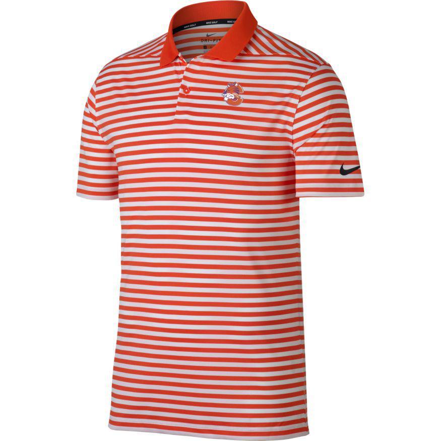 Clemson Nike Golf Vault Logo Dry Victory Stripe Polo