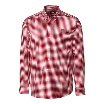 NC State Cutter & Buck League Gingham Long Sleeve Woven