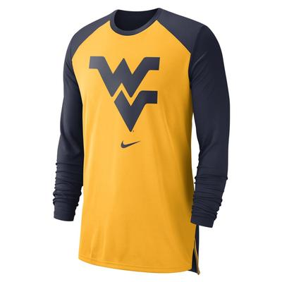 West Virginia Nike Breathe Elite Long Sleeve Shooter Tee