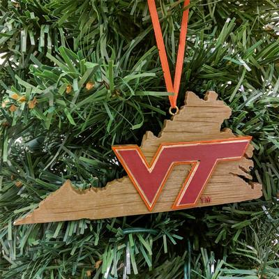 Virginia Tech State Map Ornament