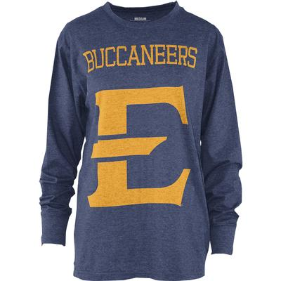 ETSU Pressbox Women's Melange Long Sleeve Crew Tee