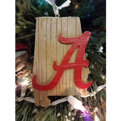 Alabama Script A State Map Ornament