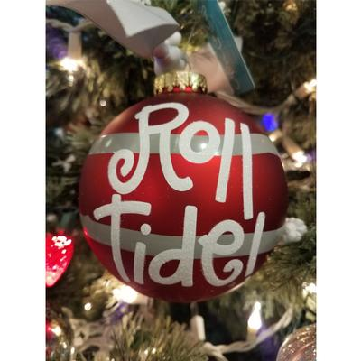 Alabama Crimson Tide Striped Ornament