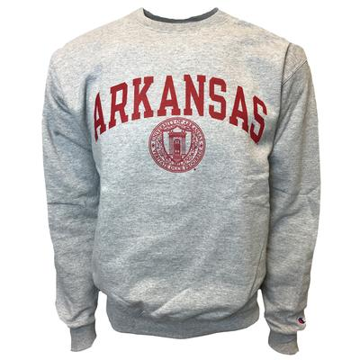 Arkansas College Seal Crew Sweatshirt HTHR_GREY