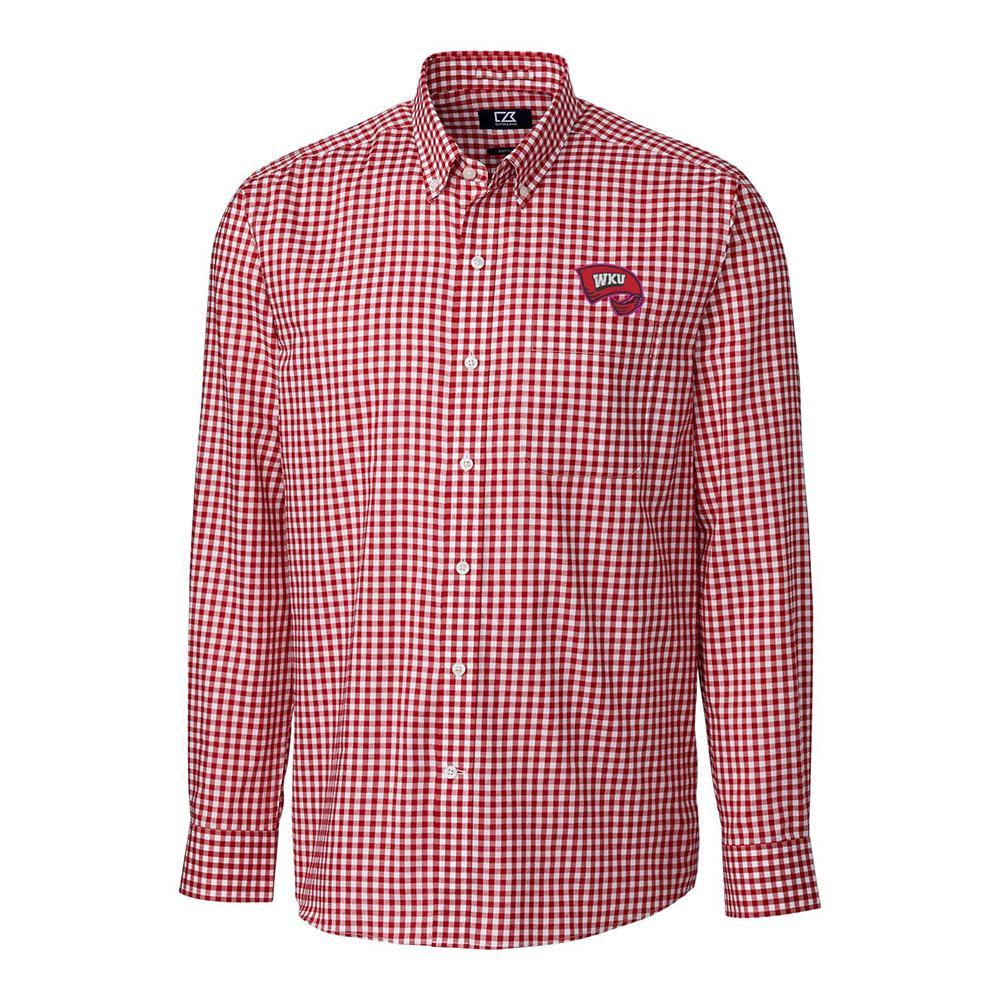 Western Kentucky Cutter & Buck League Gingham Long Sleeve Woven