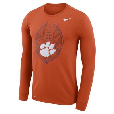 Clemson Nike Dri-FIT Cotton Long Sleeve Football Icon Tee
