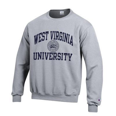 West Virginia College Seal Crew Sweatshirt HTHR_GREY