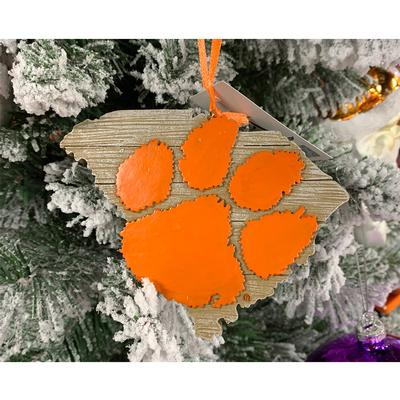 Clemson Tiger Paw Map Ornament