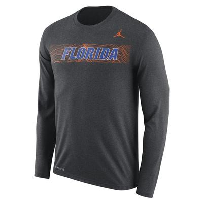 Florida Jordan Brand Dri-Fit Legend Long Sleeve Sideline Tee CHARCOAL_HTHR