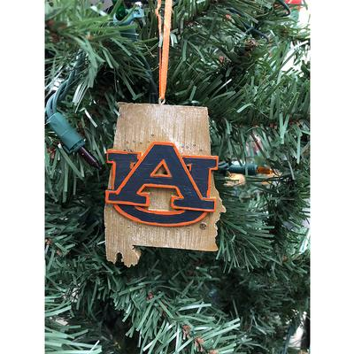 Auburn Tigers Map Tree Ornament