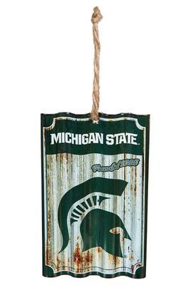 Michigan State Corrugated Metal Team Ornament