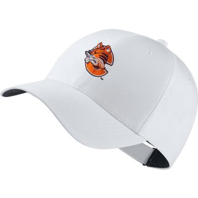 Clemson Nike Golf Dri-Fit Retro Logo Tech Cap WHITE