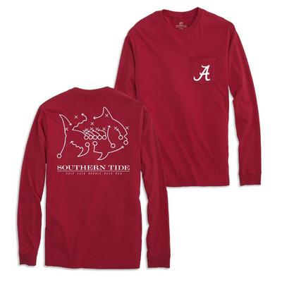 Alabama Southern Tide Long Sleeve Skipjack Play Tee