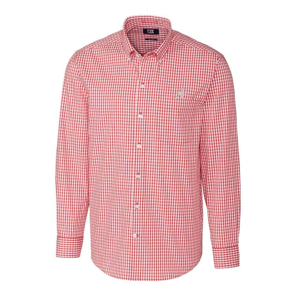 Alabama Cutter & Buck Big And Tall Stretch Gingham Woven Shirt