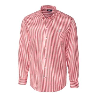 Alabama Cutter & Buck Big and Tall Stretch Gingham Woven Shirt