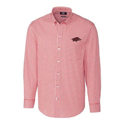 Arkansas Cutter & Buck Big and Tall Stretch Gingham Woven Shirt